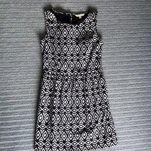 Brooks Brothers White/dark ink blue pattern dress